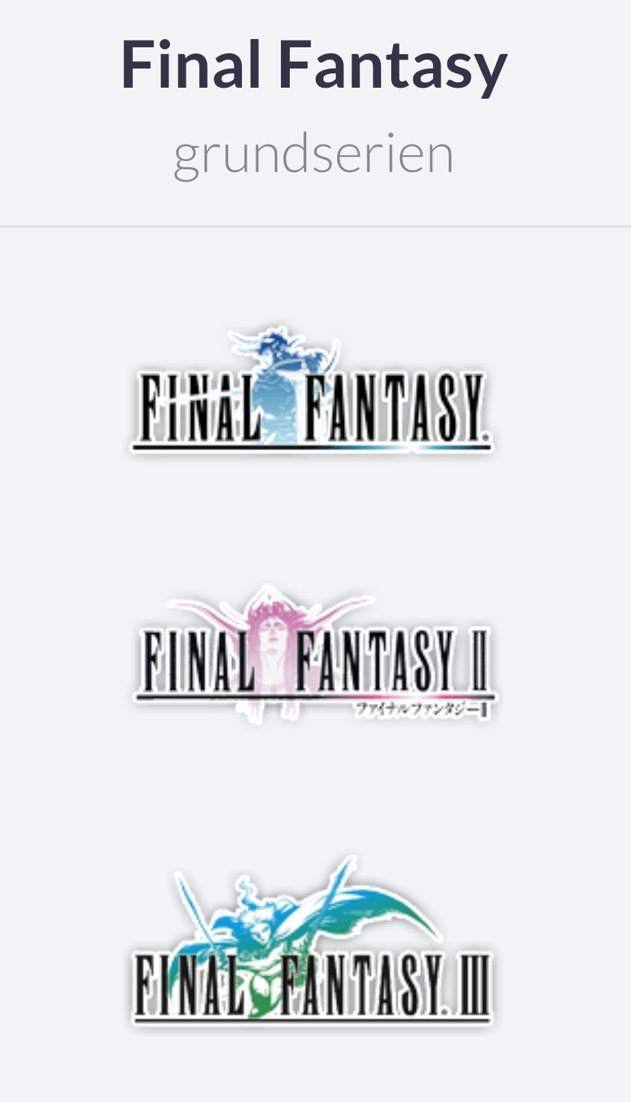 Final Fantasy logoer på rad