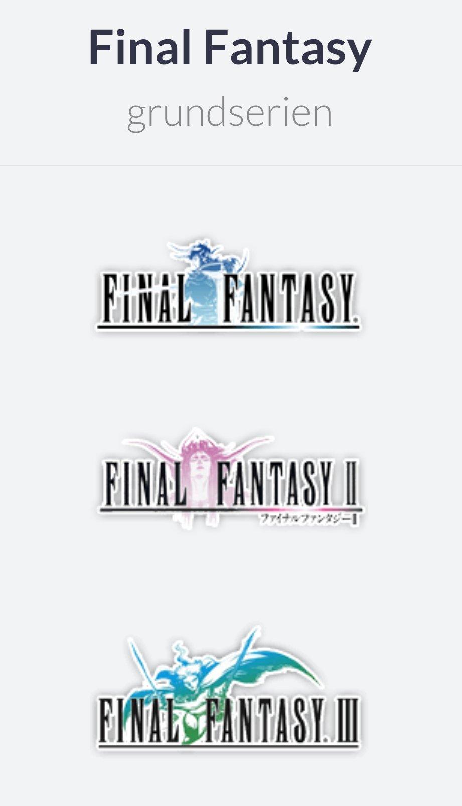 Final Fantasy logoer på rad